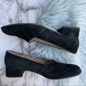 Salvatore Ferragamo Suede Quilt Black Loafers